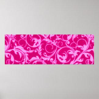 Retro Vintage Swirls Hot Pink Print