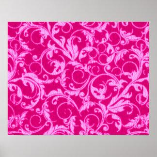 Retro Vintage Swirls Hot Pink Poster