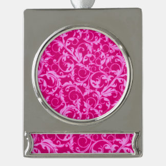 Retro Vintage Swirls Hot Pink Silver Plated Banner Ornament