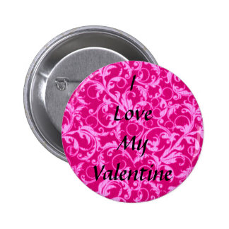 Retro Vintage Swirls Hot Pink Valentine Button
