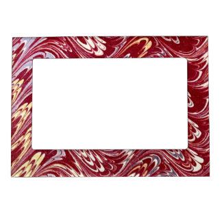 Retro Vintage Swirls Maroon Red Creme Silver Waves Magnetic Picture Frame