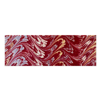 Retro Vintage Swirls Maroon Red Creme Silver Waves Posters