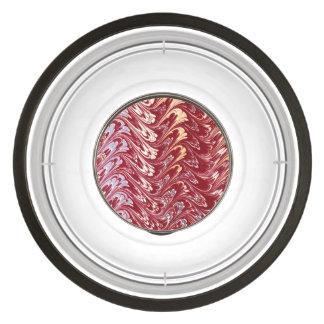 Retro Vintage Swirls Maroon Red Creme Silver Waves Pet Bowl