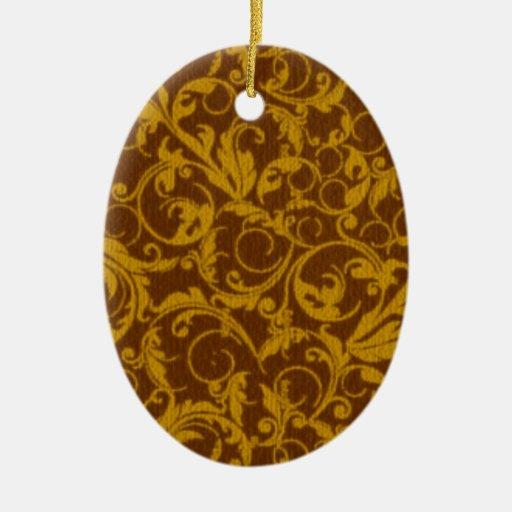 Retro Vintage Swirls Mustard Brown Oval Ornament