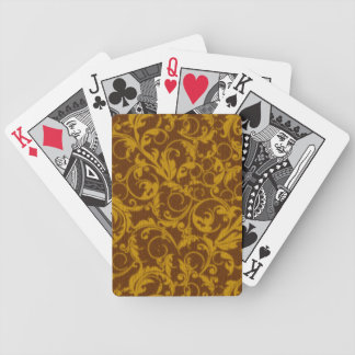 Retro Vintage Swirls Mustard Brown Playing Cards Bicycle Playing Cards