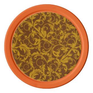 Retro Vintage Swirls Mustard Brown Set Of Poker Chips