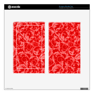 Retro Vintage Swirls Red Kindle Fire Skin
