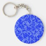 Retro Vintage Swirls Sapphire Blue Keychain