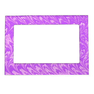 Retro Vintage Swirls White Lavender Purple Waves Magnetic Picture Frame