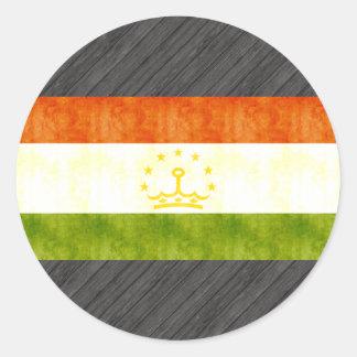Retro Vintage Tajikistan Flag Classic Round Sticker