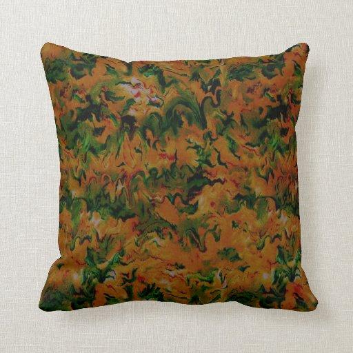 Retro Vintage Tangerine Sage Pillows