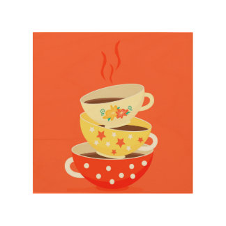 Retro vintage tea cup whimsical art