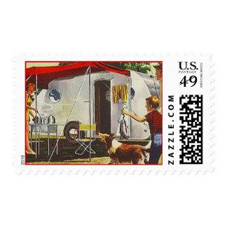Retro Vintage Teardrop Trailer Camp Postage Stamps