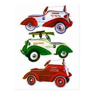 Retro Vintage Toy Pedal Cars Postcard