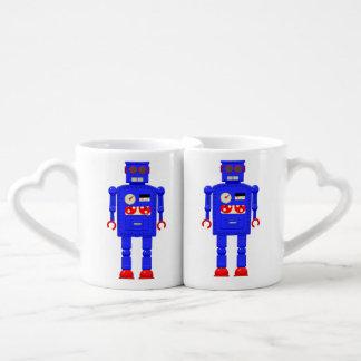 Retro vintage toy robot coffee mug set