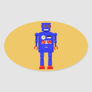 Retro vintage toy robot oval stickers