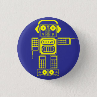Retro Vintage Toy Robot (Yellow / Blue) Flair Pinback Button