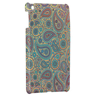 Retro Vintage Turquoise Rainbow Paisley motif iPad Mini Case