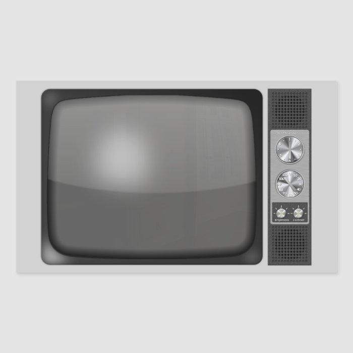Retro Vintage TV Set Rectangular Sticker | Zazzle