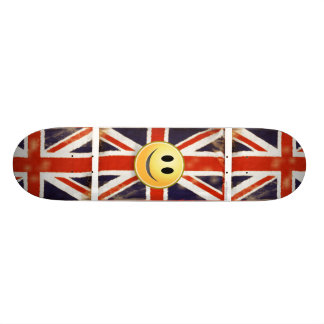 Retro Vintage Union Jack Smiley Face Skateboard