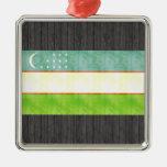 Retro Vintage Uzbekistan Flag Christmas Tree Ornament