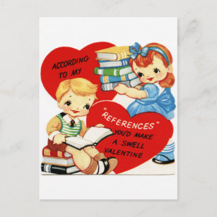 Retro Vintage Valentine book fun postcard