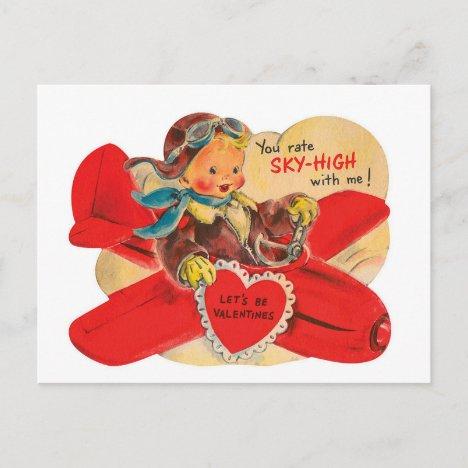 Retro Vintage Valentine boy airplane postcard