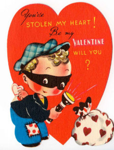 Retro Vintage Valentine boy Holiday postcard
