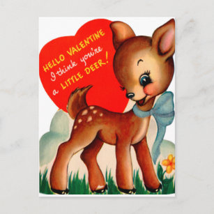 Retro Vintage Valentine Deer Holiday card