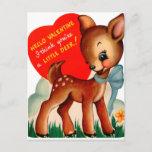 Retro Vintage Valentine Deer Holiday card