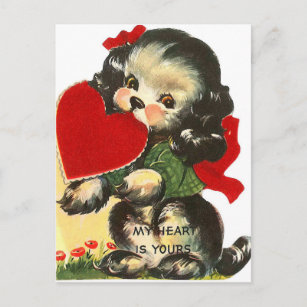 Retro Vintage Valentine dog Holiday postcard