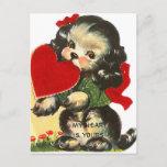 Retro Vintage Valentine dog Holiday postcard