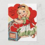 Retro Vintage Valentine girl Holiday postcard