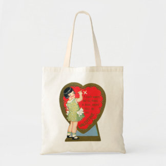 Retro Vintage Valentine Girl I'll Make A Sign Canvas Bags