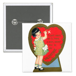 Retro Vintage Valentine Girl I'll Make A Sign Pinback Button