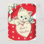 Retro Vintage Valentine Holiday cat postcard