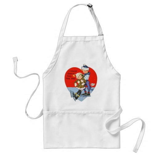 Retro Vintage Valentine I Could Fall For You Adult Apron