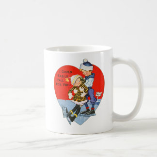 Retro Vintage Valentine I Could Fall For You Classic White Coffee Mug