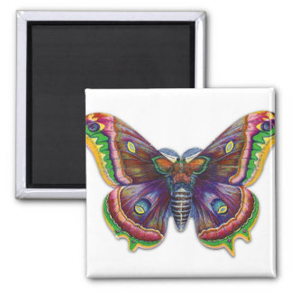 Retro Vintage Victorian Butterly Illustration 2 Inch Square Magnet
