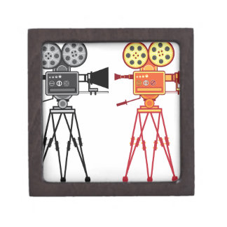 Retro Vintage Video Projector Camera Movie Vector Gift Box