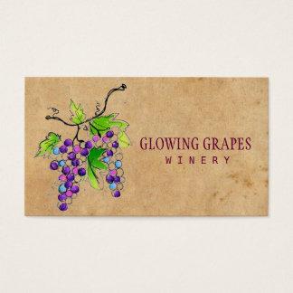 Retro Vintage Vineyard Harvest Grapes Winery Business Card