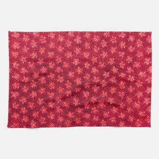 Retro Vintage Violets Fire Red Kitchen Towels