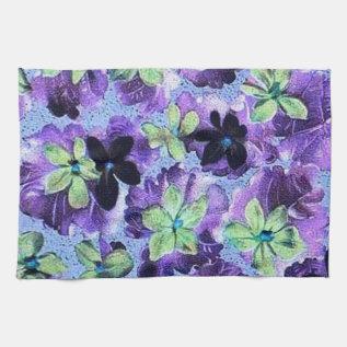 Retro Vintage Violets Green Purple Kitchen Towel at Zazzle