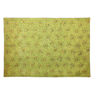 Retro Vintage Violets Yellow Green Placemat Cloth Placemat