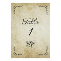 Retro vintage wedding table number card