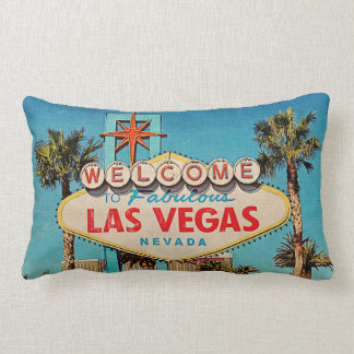 Retro Vintage Welcome to Fabulous Las Vegas NEVADA Lumbar Pillow