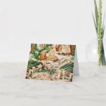 Retro Vintage Western Landscape Fabric Blank Card