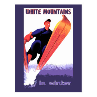 Retro vintage White Mountains in winter Postcard