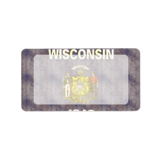 Retro Vintage Wisconsin Flag Address Label