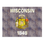 Retro Vintage Wisconsin Flag Post Cards